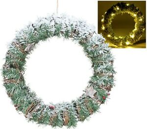 40cm Pre-lit Lighted Pine Decorated Christmas Wreath Warm White Led Lights Decor