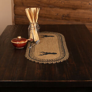 """VHC Brands Rustic 36""""x13"""" Deer Table Runner Tan Stenciled Kitchen Table Decor"""