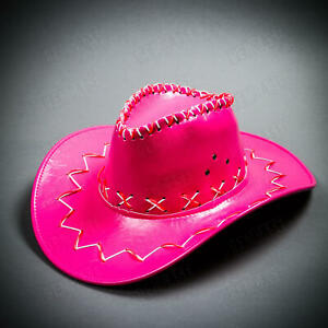 Pink Cowboy Hat Adult Western Cowgirl Bachelorette For Party with NEON LED Light