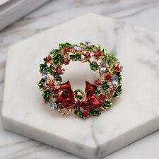 Women Girls Christmas Rhinestone Bowknot Wreaths Brooch Pin Jewelry Gift Fashion