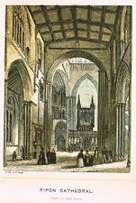 "Baud's  ""RIPON CATHEDRAL, VIEW OF THE NAVE"" - Hand-Col Lithograph - c1850"