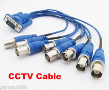 1 set VGA 15Pin 3 Row Male Plug TO 8 BNC Female Jack 8 in 1 Video CCTV Cable UK