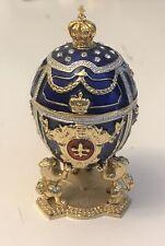 Faberge Egg / Trinket Jewel Box Lions & Russian Emperor's Crown 2 3/4�