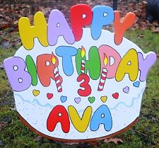 lawn stakes yard art happy birthday cake with candles