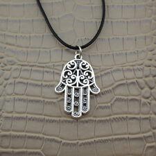 NEW Hamsa Hand of Fatima Palm Pendant Silver Charm Black Leather Necklace Chain