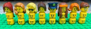 LEGO LOT OF 24 FEMALE GIRLS WOMEN MINIFIGURE HEADS 8 sets of hair PARTS police