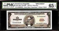 Dominican Republic  Peso Oro 1975 - 78 SPECIMEN PMG 65 EPQ UNC Pick#108s