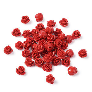 50pcs Red 3D Rose Flower Cinnabar Resin Beads Carved Loose Spacers Crafting 10mm