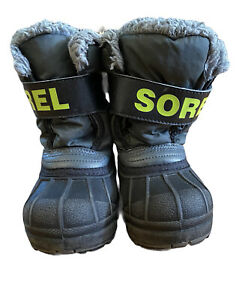 Sorel Snow Boots Childrens Snow Commander Green Black Youth Size 8