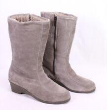 C266 Damen Lammfellstiefel Boots Leder grau Gr. 40,5 Stiefeletten ungetragen