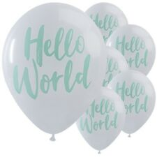 Hello World Baby Shower Party Gender Reveal Tableware Mum to Be Rose Gold MINT Large Balloons 10pk