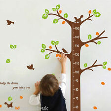 Birds Woodland Tree Height Chart Wall Stickers Decal Art Decor Kids Room Nursery