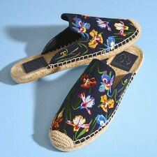 Tory Burch Max Embroidered Espadrille Slides size 9