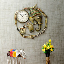 Ganesha Wall Art With Clock Design Made With Wrought Iron For Wall Decoration