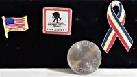 Lot of 3 Wounded Warrior Project 2018, US Flag, and Banner Lapel Pins, Pinbacks