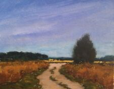 Original oil painting landscape signed impressionist art Blue Skies Country Road