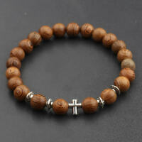 Fashion Charm Women 8mm Wood Beads Cross Energy Yoga Reiki Men Bracelets Gift