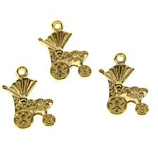 30pcs gold color 2sided baby cart  design charms  h0982