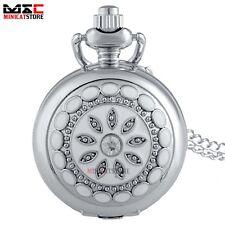 Silver Flower Vintage Retro Pocket Watch Necklace Quartz Chain Pendant Gift UK