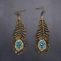 Women Vintage Metal Rhinestone Peacock Eye Feather Dangle Hook Earrings Jewelry