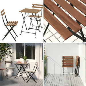 Ikea TÄRNÖ Classic Foldable Outdoor Table+2 Chairs Black/Light Brown Stained