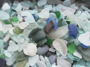 200 gram bags of mixed colour English sea glass, various sizes, quality, bulk