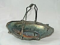 Antique Silver Plate Brides Basket with Handle Footed Ribbon Edge 12x9x3""