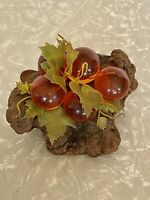 Vintage Lucite Acrylic Resin Amber Grapes On Driftwood Mid Century Modern