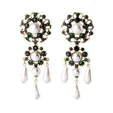 Bride White Pearl Drop Chandelier Earrings Ruby Navy Blue Crystal Pave Jewelry