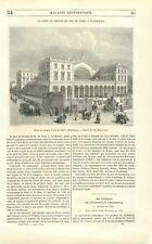 Gare de l'est Paris chemin de fer ligne Strasbourg dessin Blanchard GRAVURE 1851