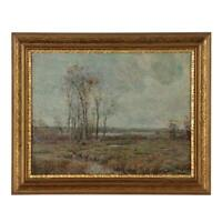 Oil Painting American Impressionist Signed O/C 19th Century Original Frame