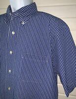 Brooks Brothers Sz LARGE Blue Plaid S/S Regular Fit Casual Shirt Pocket EUC