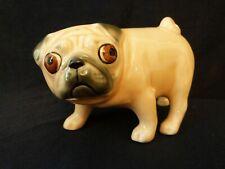 ARTISTS PORCELAIN FIGURE ORNAMENT FUNNY CARICATURE PUG DOG NUDE CREAM BEIGE