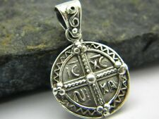 Sterling silver medallion pendant cross ic xr ni ka  and St Christopher