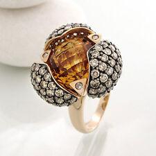 Ring mit Citrin ca. 6 ct und  Brillantbesatz 3,31 ct in 18k Roségold