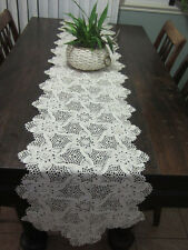 NEW, HANDMADE SPIRAL PINEAPPLE TABLERUNNER, ECRU - COLLECTIBLE,  93 X15 INCHES