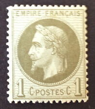timbre france, n°25, 1c vert type napoleon, xx, BC.