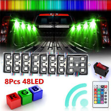 8pc LED Rock Lights Under Body Lighting RGB RF Remote Control 48LED Waterproof