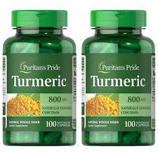 Turmeric 800mg Antioxidant Naturally Contains Curcumin 2X100CAPS or 1x200Puritan