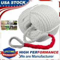 """3/4"""" X150' Twisted 3 Strand Nylon Anchor Rope Boat With Thimble Braided Dockline"""