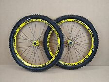 "Mavic Deemax 26"" Tubeless MTB Downhill Wheels Wheelset - Yellow USED 067"