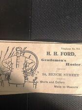 D5-1 ephemera 1914 Article Dover Advert H H Ford Gentleman's Hosier Shirts