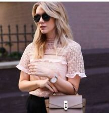 ZARA WOMAN GUIPURE LACE NUDE TOP, BNWT, SIZE S