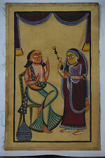 India Vintage UNIQUE Kalighat Painting GIRL PLAYING MUSIC FOR MEN COUPLE - BM008