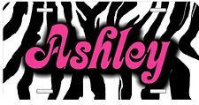 Personalized Monogrammed Custom License Plate Auto Car Tag Zebra Stripes Pink