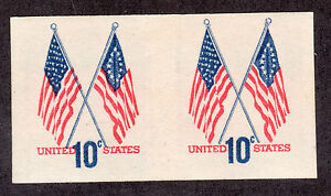 US # 1519a (1973) 10c-MNH-Imperf. Pair - w/ EFO: Color Shift  on 1 stamp. SCARCE