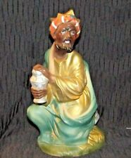 """LARGE WISE MAN NATIVITY FIGURE-10"""" TALL - EXCELLENT COND., HOLDING A SILVER JAR"""