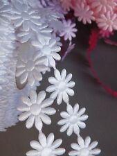 Flower trim Braid satin lace ribbon crafts sewing dolls embelishment dress White