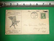 JC295 Vintage 1910 Adv Envelope Otho L. Caldwell Springfield IL School Furniture
