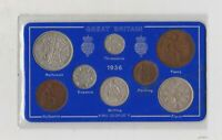 CASED 1936 GEORGE V SET OF 8 COINS IN GOOD FINE OR BETTER CONDITION.